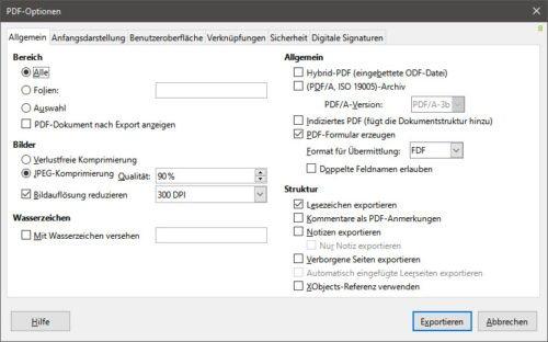 Optionen für den PDF-Export einer ODP-Datei