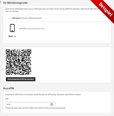 QR-Code mit eSIM-Profil von Vodafone