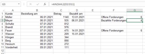 Anzahl nicht leerer Zellen mit der Funktion Anzahl2