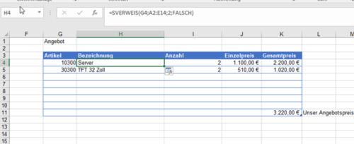 Beispiel von SVERWEIS in einer Tabelle