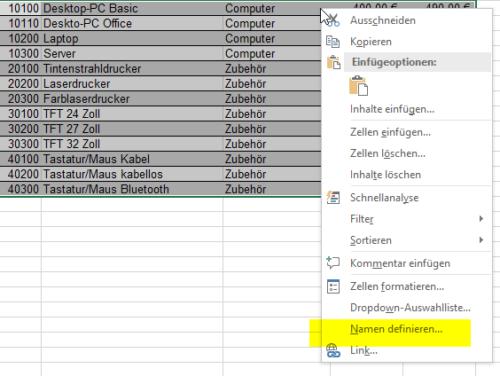 Benannter Bereich in Excel