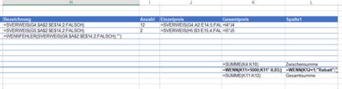 Mit einer Tastenkombination in Excel Formeln anzeigen lassen