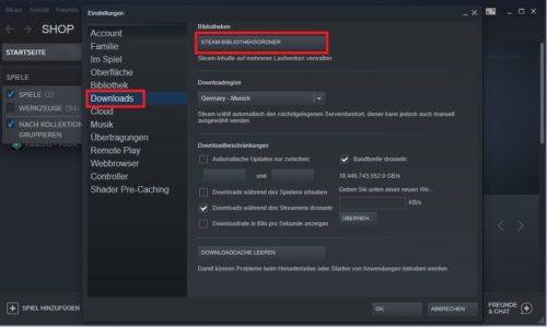 Steam-Spiele verschieben: Einstellungen im Steam-Client