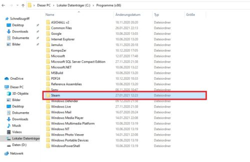 Steam-Installationsordner unter Windows 10