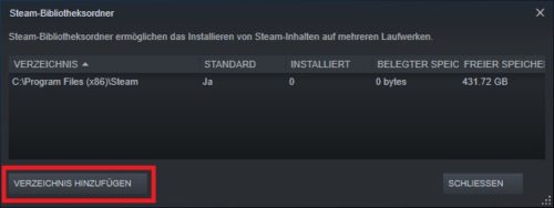 Steam-Bibliotheksordner auf der HDD