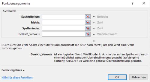 Syntax von Excel SVERWEIS