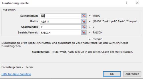 Syntax von Excel SVERWEIS für die Übung