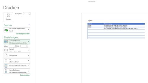 Tabelle mit Formeln ausdrucken