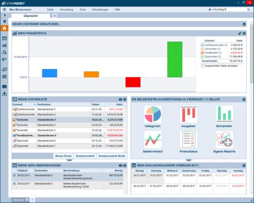 Screenshot der StarMoney Online Banking Software