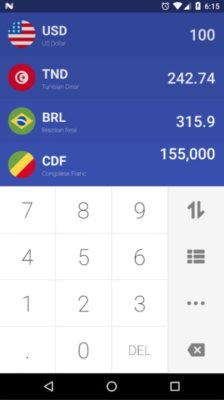 Screenshot der Währungsrechner-App Easy Currency