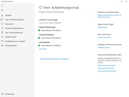 Integration von Acronis True Image 2021 in Windows-Sicherheit