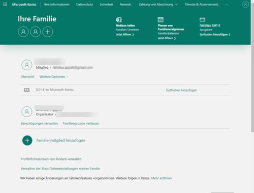 Microsoft Familiengruppen-Webseite