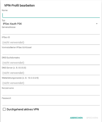 VPN Android einrichten