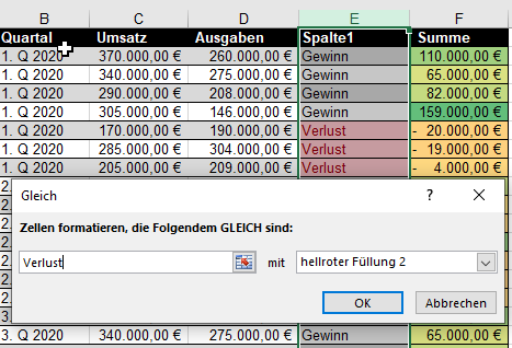 Wenn Abfrage in Excel mit roter Farbe