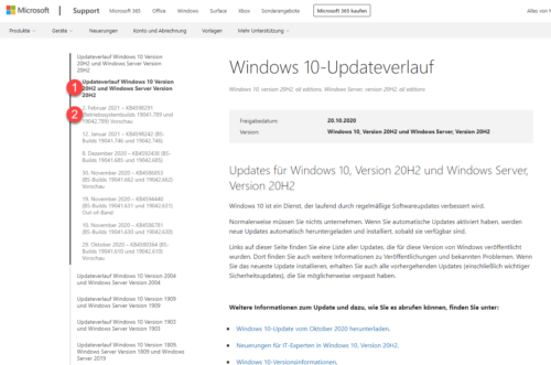 Windows 10 Build anzeigen im Windows 10-Updateverlauf