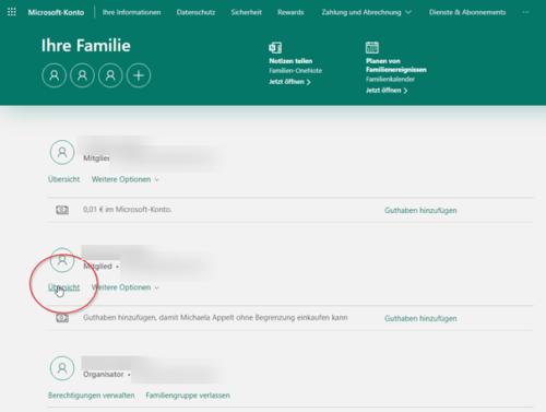 Windows 10 Kindersicherung Übersicht Familie