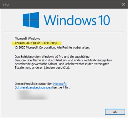 Windows 10 build anzeigen mit Hilfe von Winver
