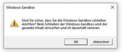 Windows-Sandbox schliessen