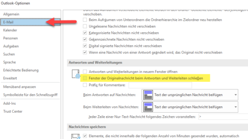 Fenster von Mails in Outlook beim Antworten oder Weitenleiten automatisch schließen.