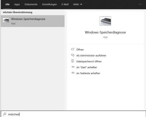 Windows-Speicherdiganose für die Fehlersuche nach Page Fault In Nonpaged Area Windows 10