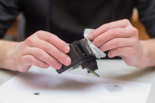 Drucker druckt Streifen