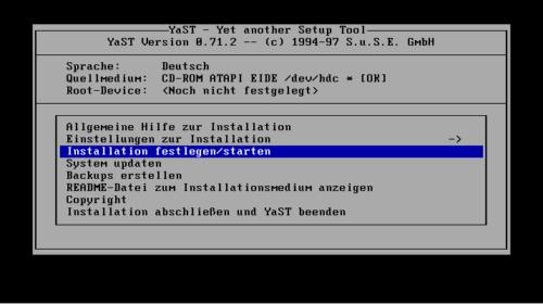 Linux Deutsch ist auch Yast in SUSE