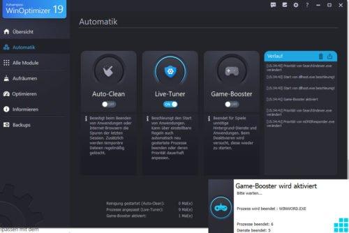 Analyse für die Automatik im Game-Booster