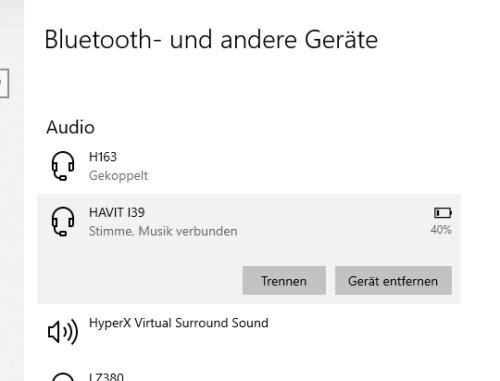 bluetooth windows 10: Bluetooth-Gerät trennen oder entfernen