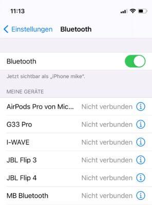 Bluetooth auf dem iPhone