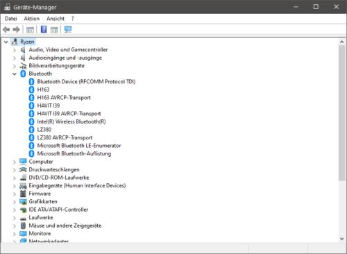 Bluetooth im Gerätemanager von Windows 10