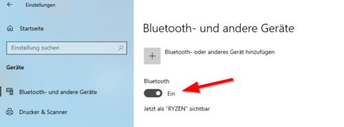 Bluetooth in den Einstellungen von Windows 10
