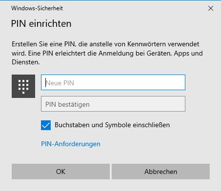 Einrichten der PIN in Windows 10