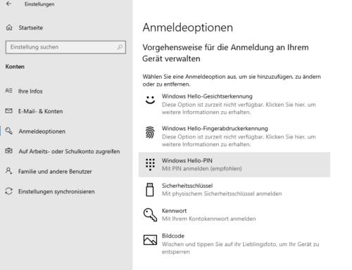 Einrichtung der Anmeldung mittels PIN in Windows 10