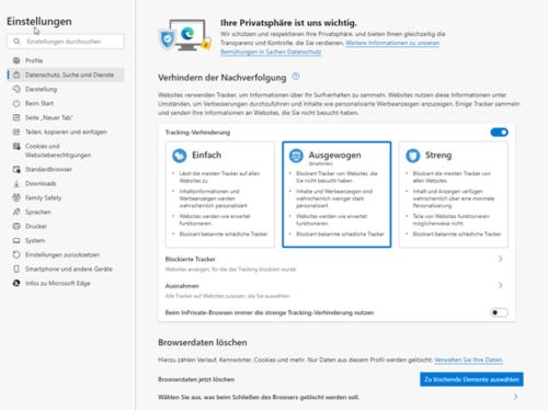 In Edge Browserdaten löschen ist die Vorstufe zum zurücksetzen