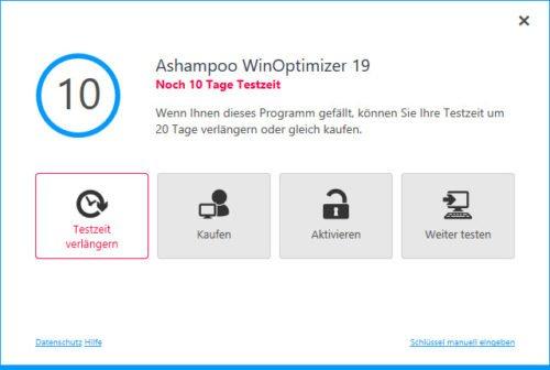 Testzeitraum von Ashampoo WinOptimizer 19 verlängern