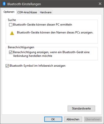 Weitere Bluetooth-Einstellungen