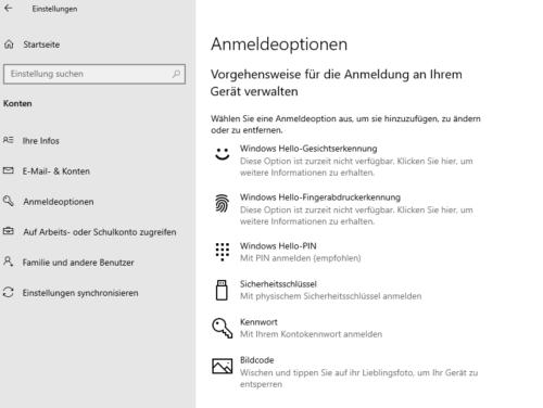 Windows 10 PIN und andere Anmeldeoptionen mit Windows Hello