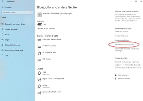 Verwaltung von Bluetooth in Windows 10