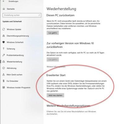Der erweiterte Start in Windows 10 führt den den Windows-Reparatur-Tools von Microsoft