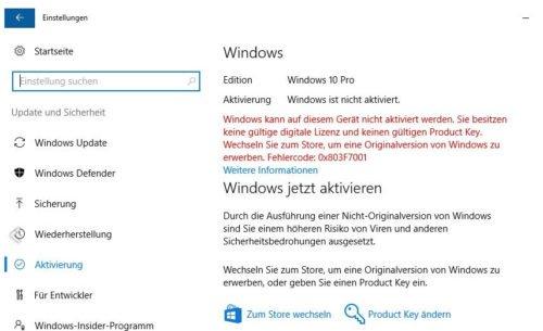 Windows 10 keine legale Lizenz