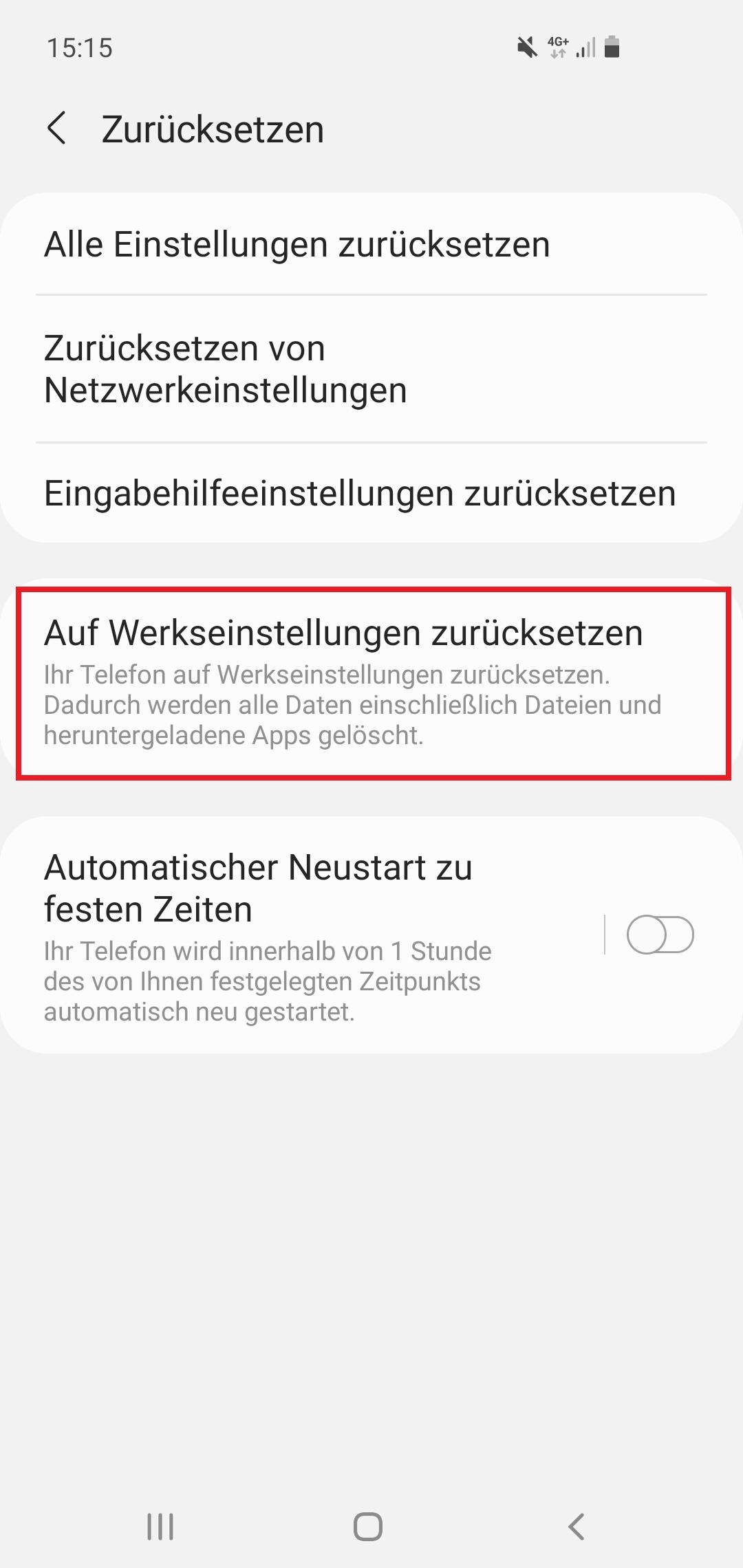 Android-Handy ohne Datenverlust zurücksetzen