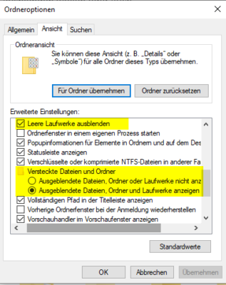 ausgeblendete Dateien und Ordner anzeigen