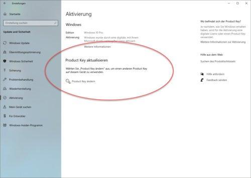 In den Einstellungen können Sie den Windows 10 Key ändern