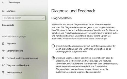 Diagnose und Feedback aktiviert
