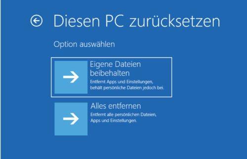 PC zurücksetzen bewirkt eine windows 10 neu installieren ohne datenverlust