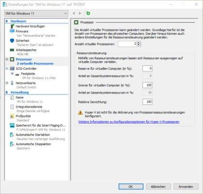 Die Anzahl der virtuelle CPUs muss für Windows 11 auf mindestens 2 erhöht werden.