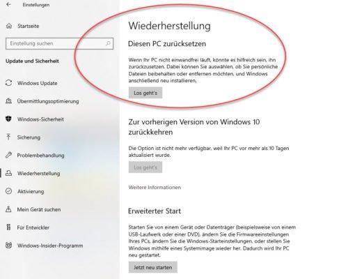 Windows 10 neu installieren ohne Datenverlust