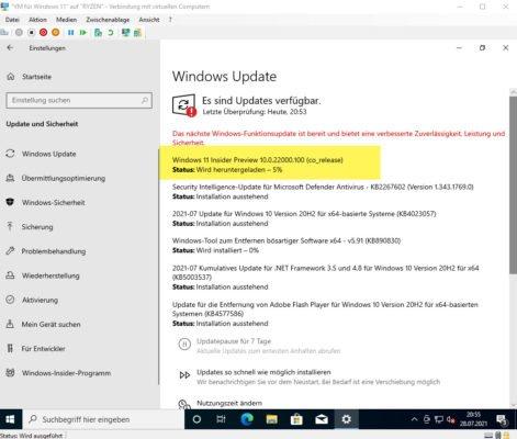 Windows 11 Insider Build wird heruntergeladen