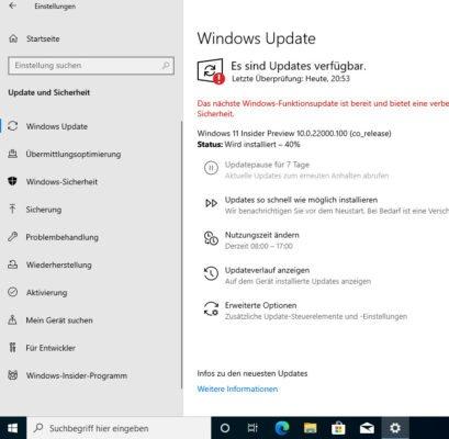 Windows 11 Insider Preview wird heruntergeladen und installiert