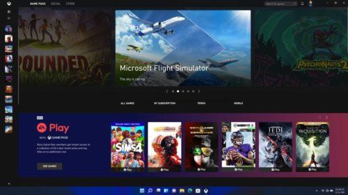 Windows 11 Xbox Game Pass Screen
